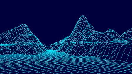 Wireframe landscape design on blue background. Technology grid.
