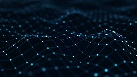 Blue digital background. Network connection structure. 3D rendering.