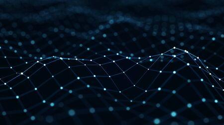 Fond numérique bleu. Structure de connexion réseau. rendu 3D.