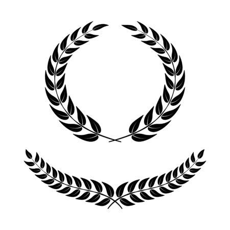 Laurel wreath on white background. Symbol of victory. Black vector icons in flat design. Vector Illustratie