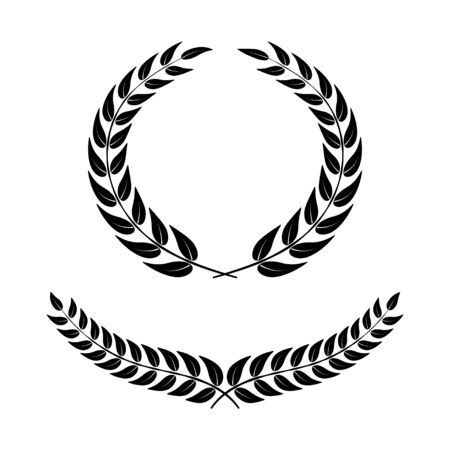 Laurel wreath on white background. Symbol of victory. Black vector icons in flat design. Vector Illustration