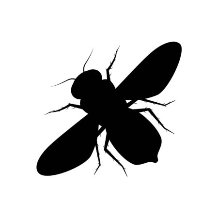 Honey bee icon on white background. Vector insect silhouette in flat style.