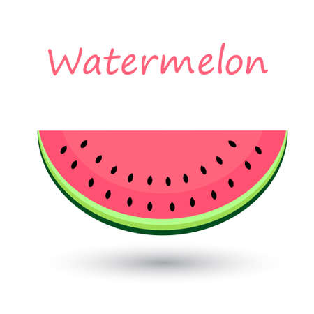 Juicy watermelon. Isolated watermelons sliced on white background. Vector illustration. Vettoriali