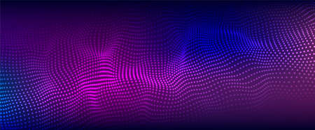 Color music sound wave. Abstract futuristic background of particles. Technology dynamic dots background. Big data visualization.  イラスト・ベクター素材