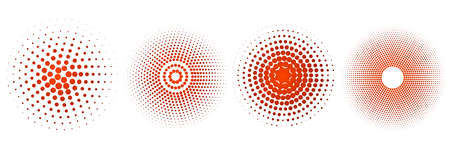 Set of halftone circle. Vintage gradient dots background. Abstract texture with red particles. Illustration