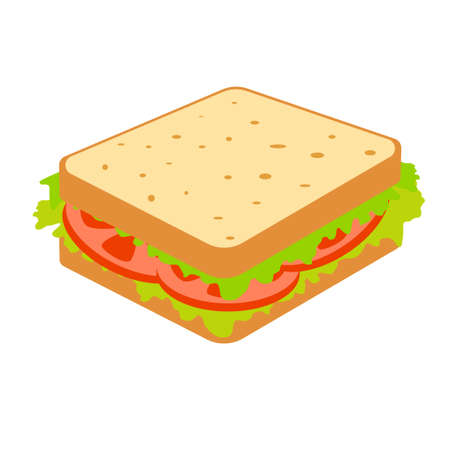 Sandwich with tomato and salad. Fast food sign on white background. Vector illustration.