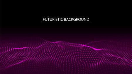 Abstract futuristic background of glow particles. Color music sound wave. Technology dynamic dots background.