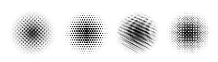 Set of halftone circle. Vintage gradient dots background. Abstract texture with black particles. Standard-Bild - 151142851