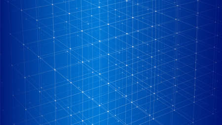 Modern background with connecting dots and lines. Network connection structure on blue background. Vector illustration.