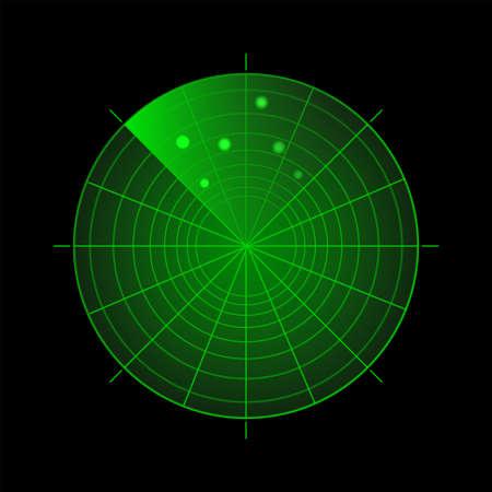 Radar screen with targets. Green sonar system on black background. Target detection. Technology HUD display.