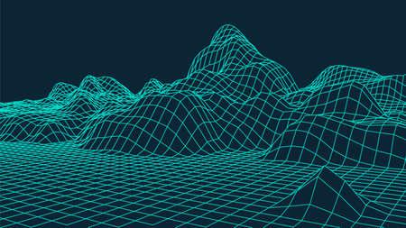Wireframe landscape design on blue background. Technology grid. Ilustración de vector