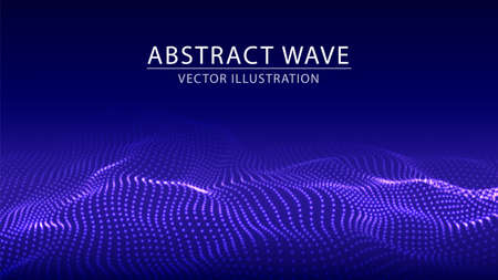 Vector abstract futuristic background. Big data visualization. Dynamic wave of particles.