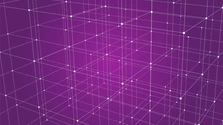 Modern background with connecting dots and lines. Network connection structure on pink background. Vector illustration.