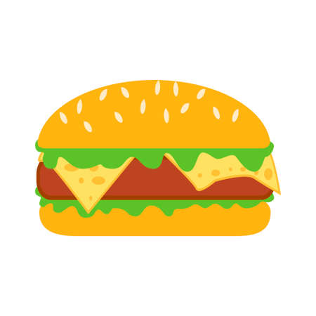 Burger icon. Isolated cheeseburger on white background. Fast food sign. Burger with sesame. Vector illustration.