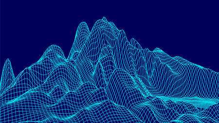 Abstract wireframe landscape design on blue background. Technology vector grid. Curve connection structure. Digital futuristic wave.