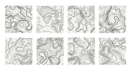 Set of topographic contour map. Vector grid maps.