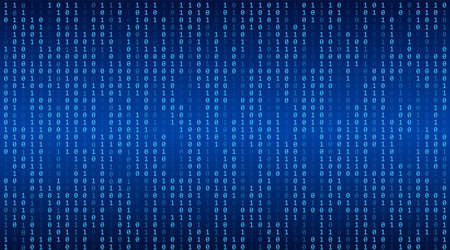 Green matrix background. Stream of binary code. Falling numbers on dark backdrop. Digital computer code. Coding and hacking. Abstract vector illustration.