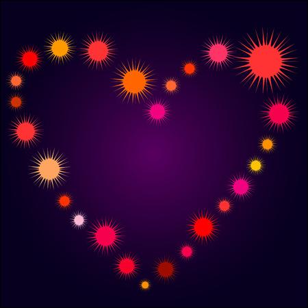 Art heart with suns on blue Vector