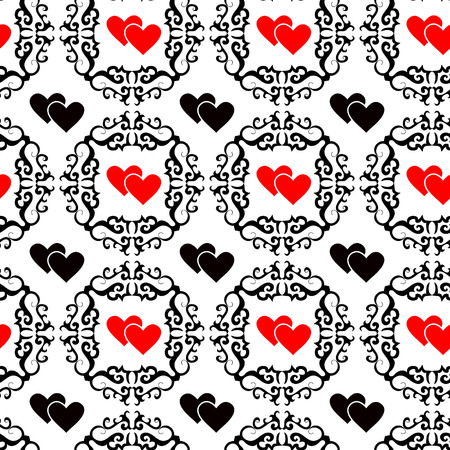 Seamlessly vector ornament wallpaper valentine with hearts Vector