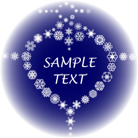 Art heart with snowflakes on blue Vector