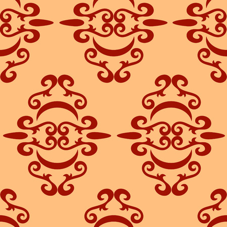seamlessly: Seamless red ornament vector pattern Illustration