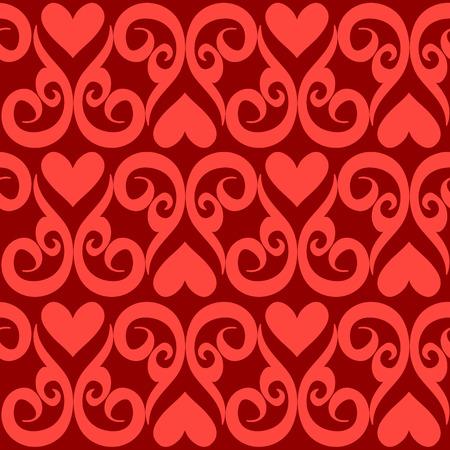 Seamless valentine ornament vector pattern Illustration