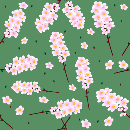 Vivid, colorful, repeating cherry flower background Vector