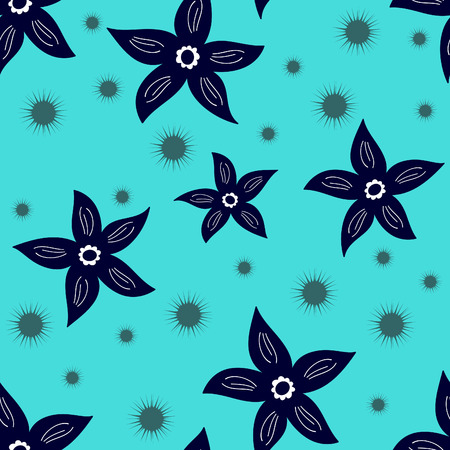Seamless flower vector background on blue Vector