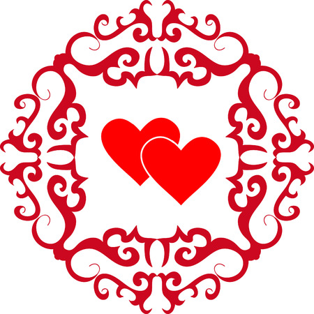 Valentine with heart and red ornament