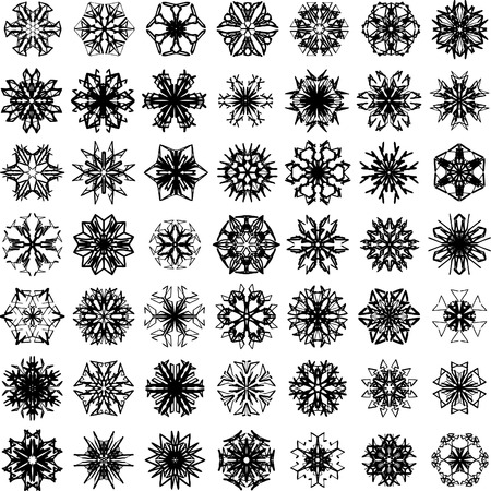 Many vector snowflakes on white