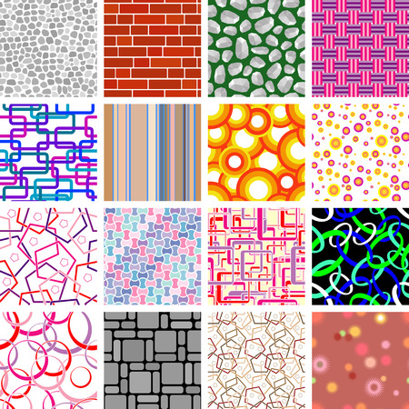 Golden collection of seamless retro wallpapers Vector