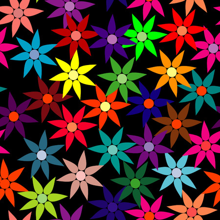 Vivid, colorful, repeating flower background on black Vector
