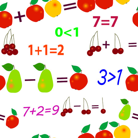 computation: Seamlessly vector wallpaper fruit mathematics Illustration