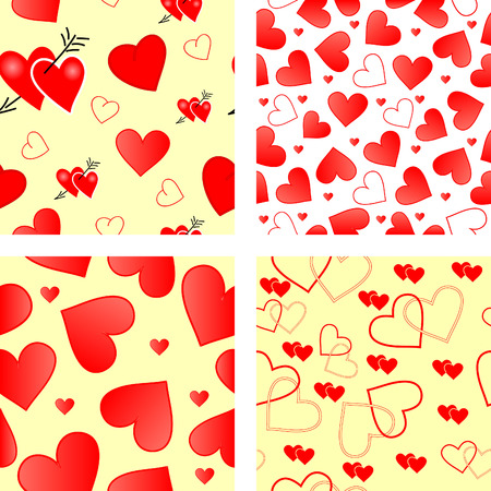 Collection of seamless vector wallpaper valentines with hearts Vector