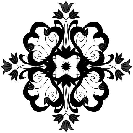 floral vector: Negro florales vector elemento decorativo