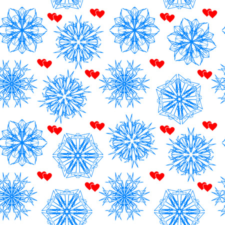 Seamless vector wallpaper with snowflakes and hearts Vector