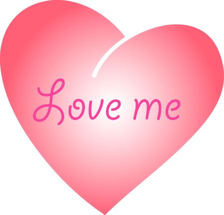 superscription: Valentine with heart and superscription  Illustration