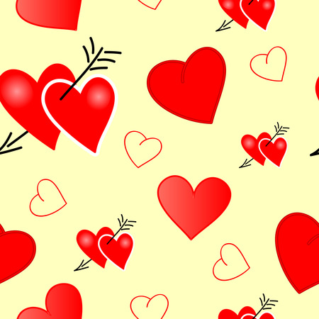 Valentine with hearts - seamlessly vector wallpaper Vector
