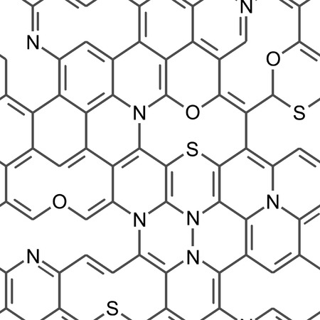 Chemical heterocyclic scribbles. Seamlessly vector wallpaper on white Stock Vector - 2396367