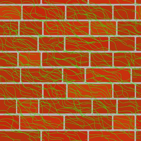 Seamlessly vector bricken wall with twigs Vector