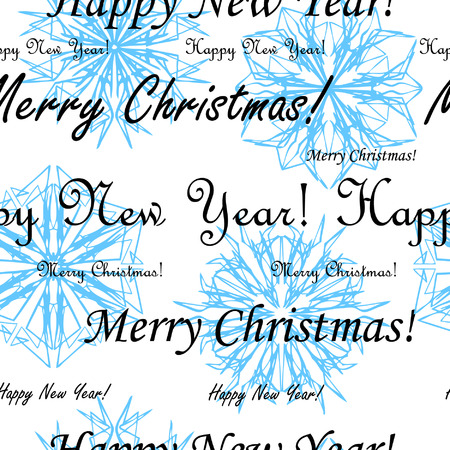 Seamless vector wallpaper with snowflakes and superscription Merry Christmas and Happy New Year Vector