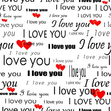 """Valentine della carta da parati di vettore di Seamlessly con i cuori ed il superscription """"ti amo"""" Vettoriali"""