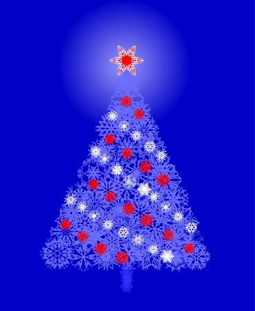 Winter vector snowflake blue tree Stock Vector - 2397288