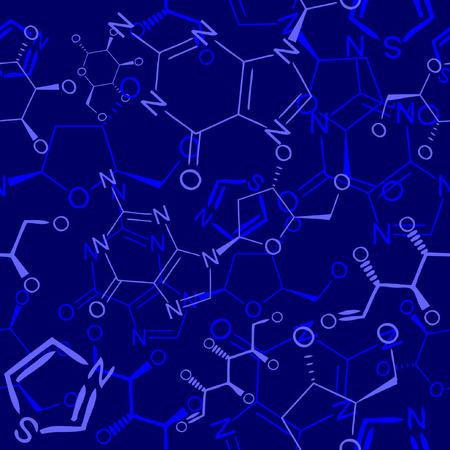 Seamlessly vector wallpaper chemistry scribbles on blue