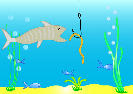 Fish and worm on a hook Stock Vector - 2488082