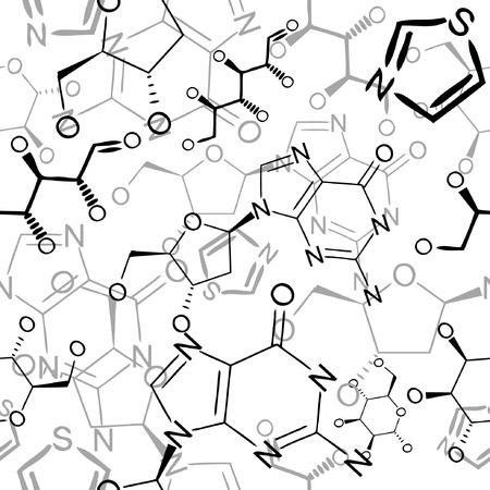 vector wallpaper: Seamlessly vector wallpaper chemistry scribbles on white Illustration