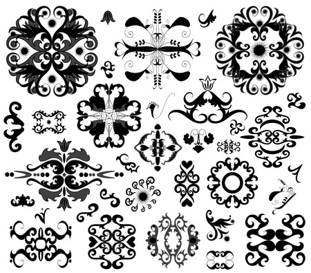 Many ornament vector decorative elements on white Vector