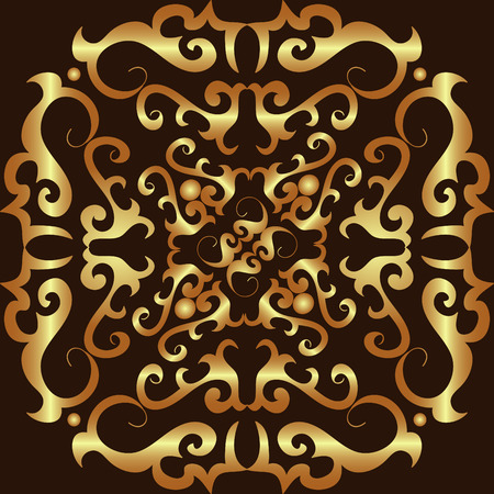 Gold ornament vector pattern on black Vector