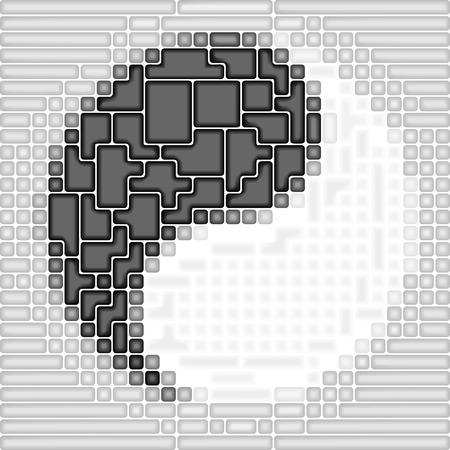 metaphysic: Art 3d puzzle Yin-Yang symbol