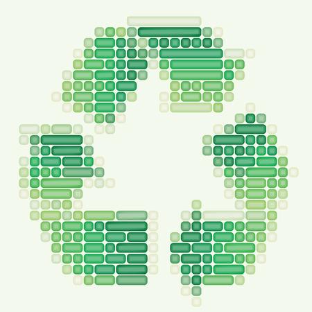 ozone friendly: Art 3d recycle logo on white